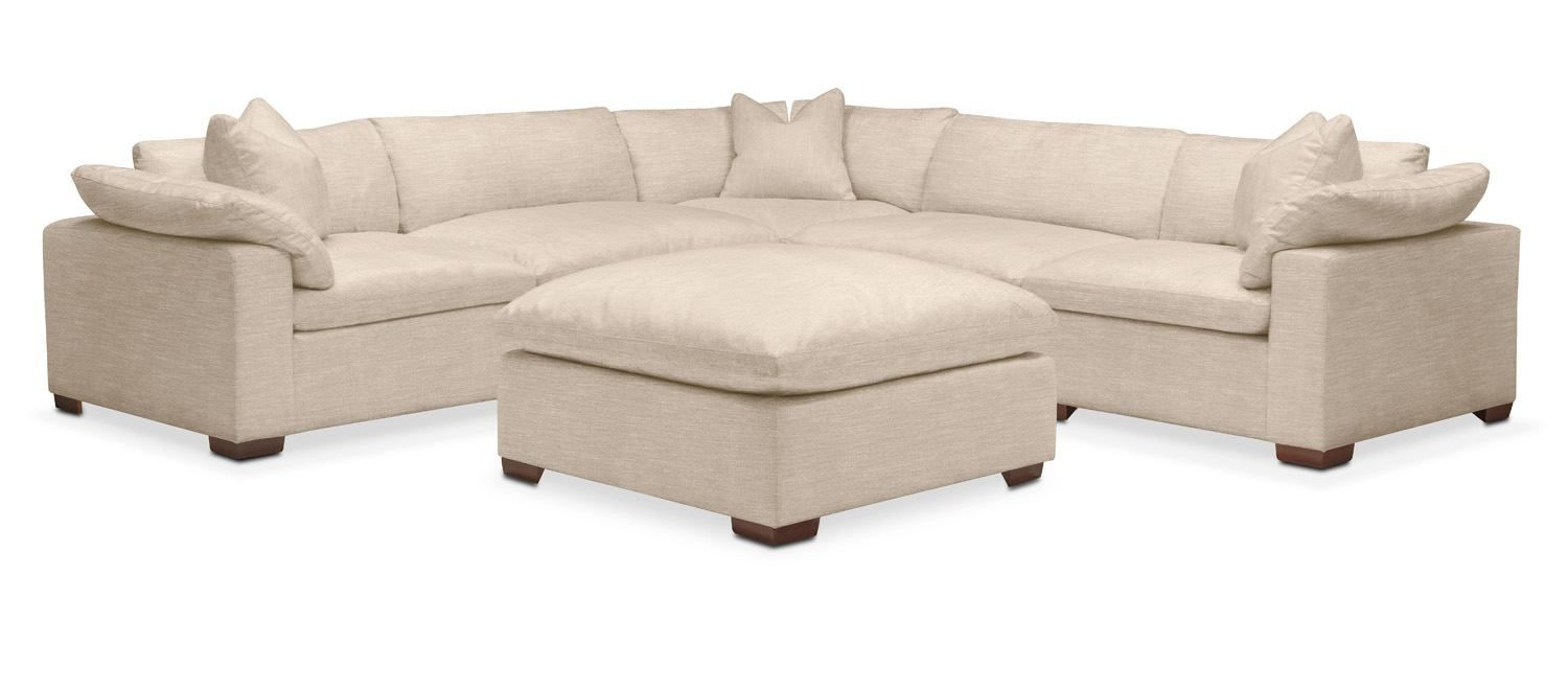 Kroehler Plush 5 Piece Sectional Sofa And Ottoman Dudley Buff