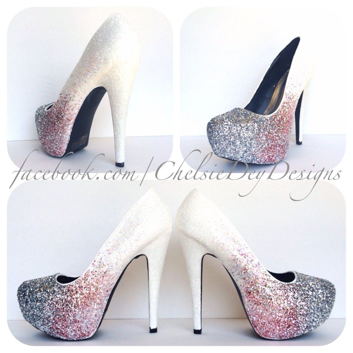 56756daee69a White Silver Ombre Glitter High Heels, Pink White Silver Wedding Shoes