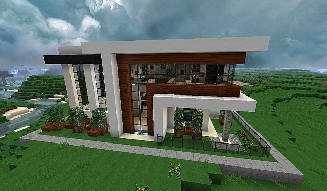 Modern House Minecraft Project Modern Minecraft Houses Minecraft House Plans Minecraft Modern