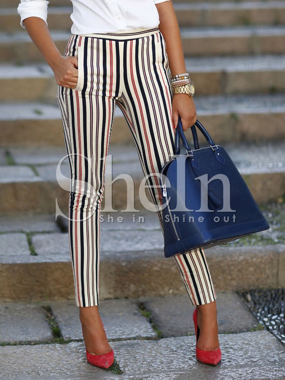 Pantalones Rayas Verticales Bolsillos Skinny Multicolor Spanish Shein Sheinside Pitillos Pantalon Dama Skinny