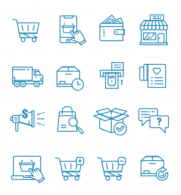Set Of E Commerce Online Shop And Shopping Icons With Outline Style Logo Online Shop Shop Icon Business Icon
