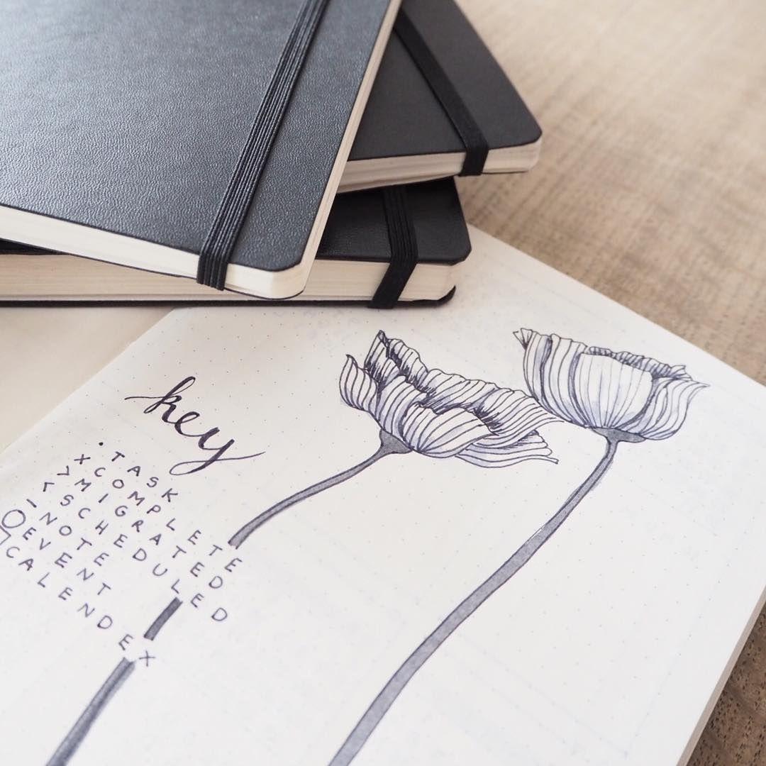 Bullet Journal Key Floral Line Drawing