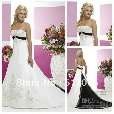 4a4c325437 Vintage Style Silver Embroidery On Satin Black and White Wedding ...