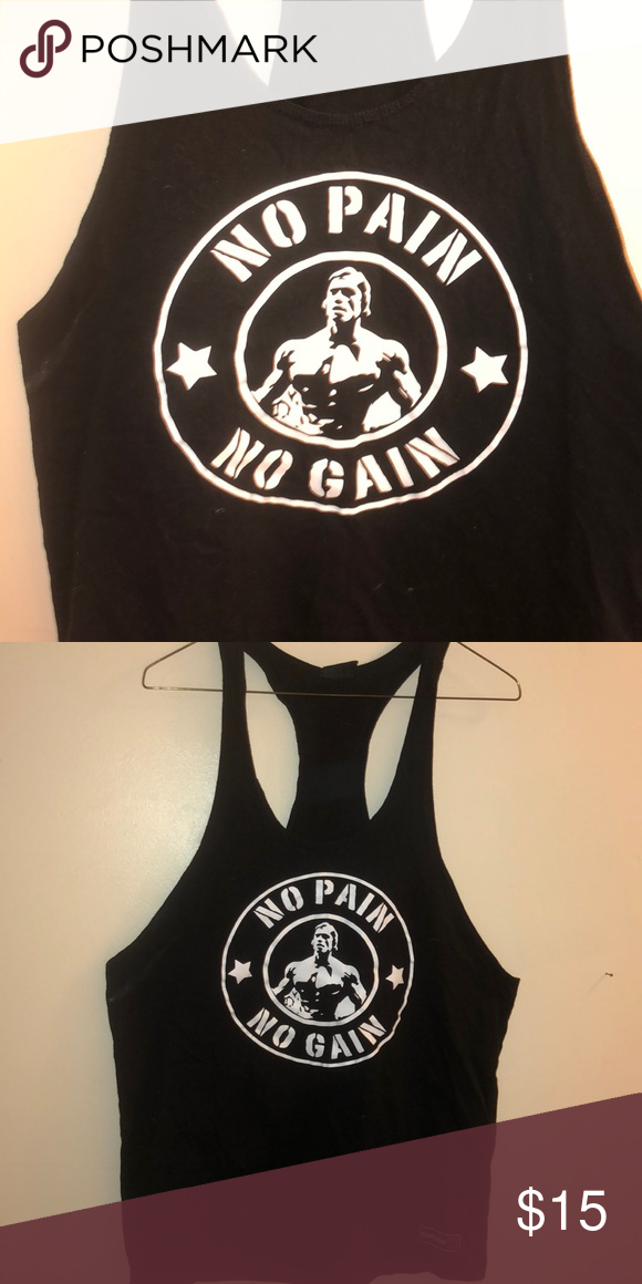 589fb3b134c Arnold No Pain No Gain Stringer Tee Do you have a lifter in your life  This  blacks and white muscle stringer will motivate any lifter who slips into it.
