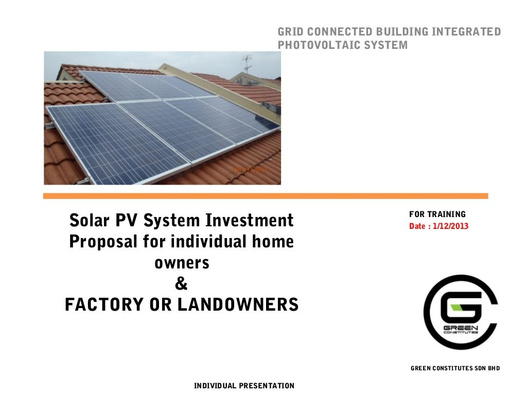 Investment Proposal For Solar Pv System Training Modules By Ali Ar