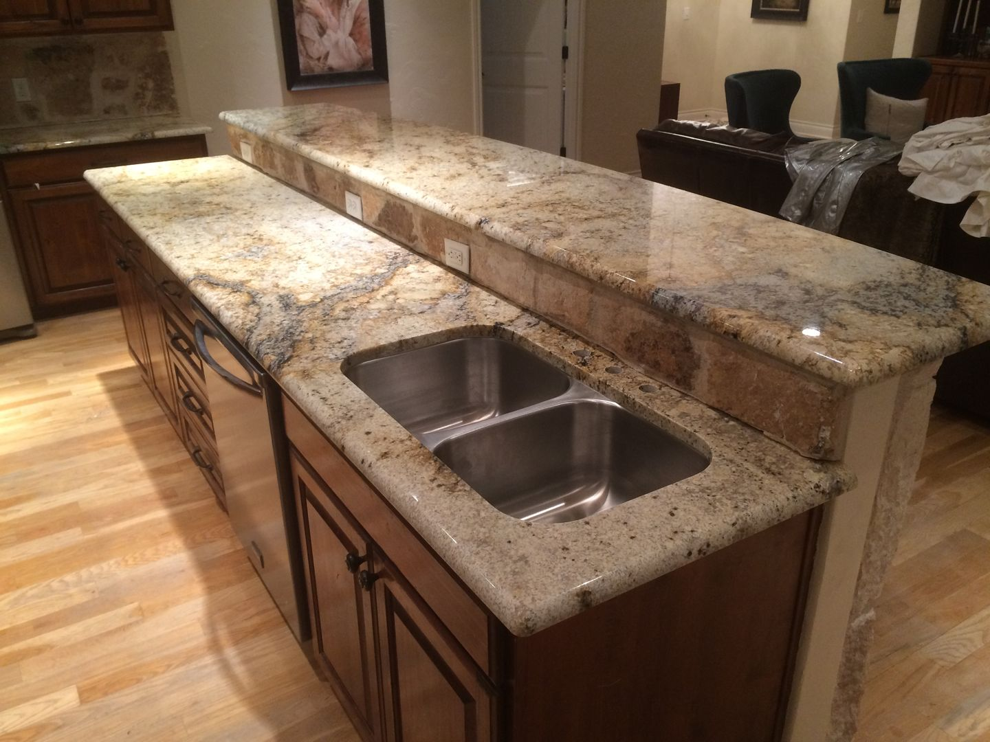 Sienna Beige Granite Kitchen Remodel Kitchen Granite Home Decor Dark Cabinets Rock