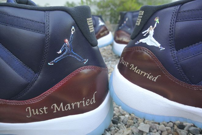e3adf257391b9 Must See  Customized Air Jordan 11s of a Recently Married Basketball Couple!