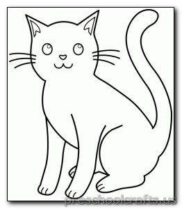 Kitten Coloring Pages Preschool And Kindergarten Cat Clipart Kitten Drawing Cat Outline