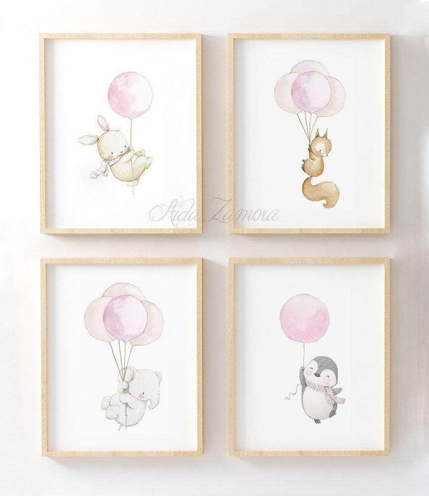 SET of four Watercolor Nursery Art ANIMALS with BALLOONS, Ballons Animals Prints, Balloon wall art, Nursery balloons art, Aida Zamora. #babysets