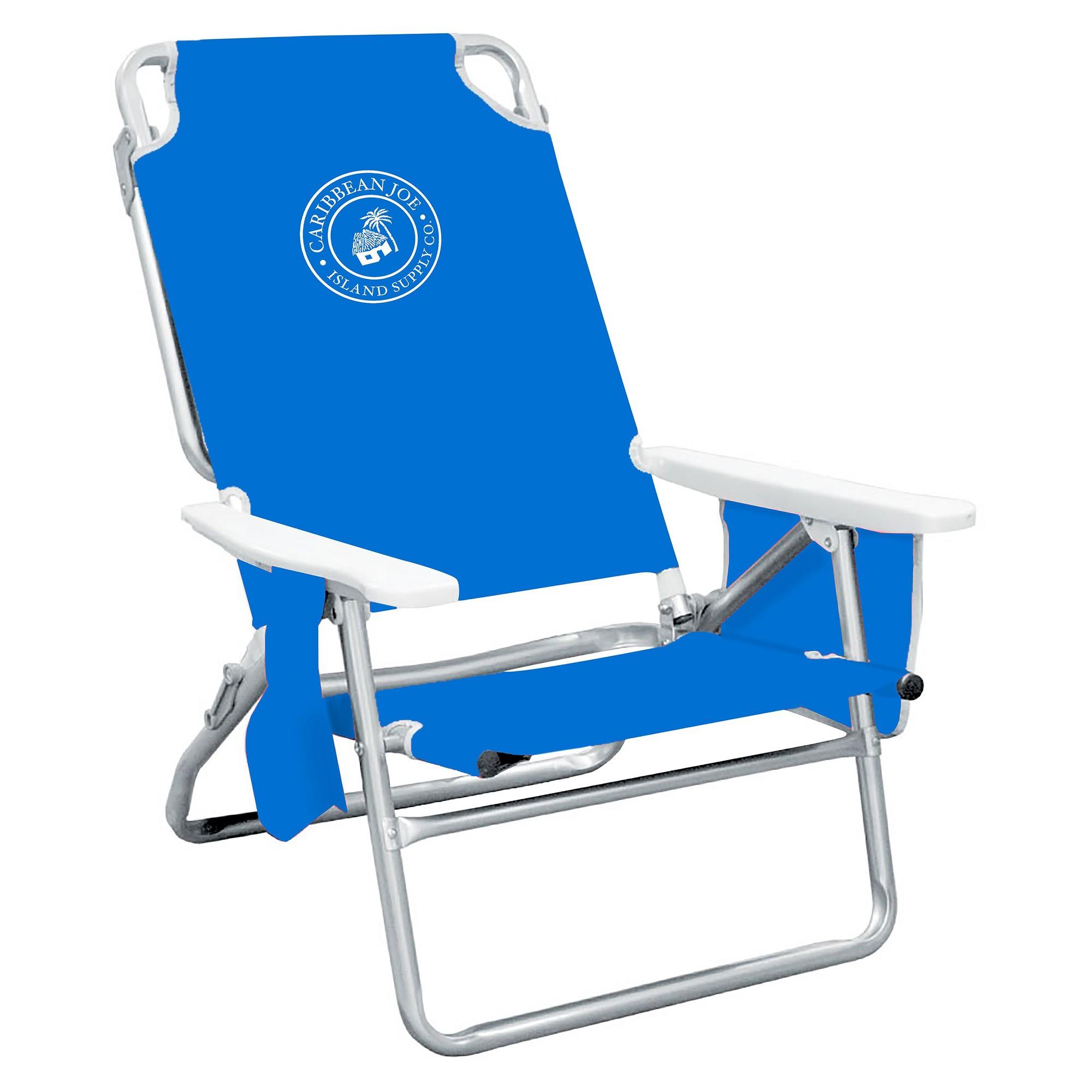Caribbean Joe Five Position Folding Beach Chair with Pocket