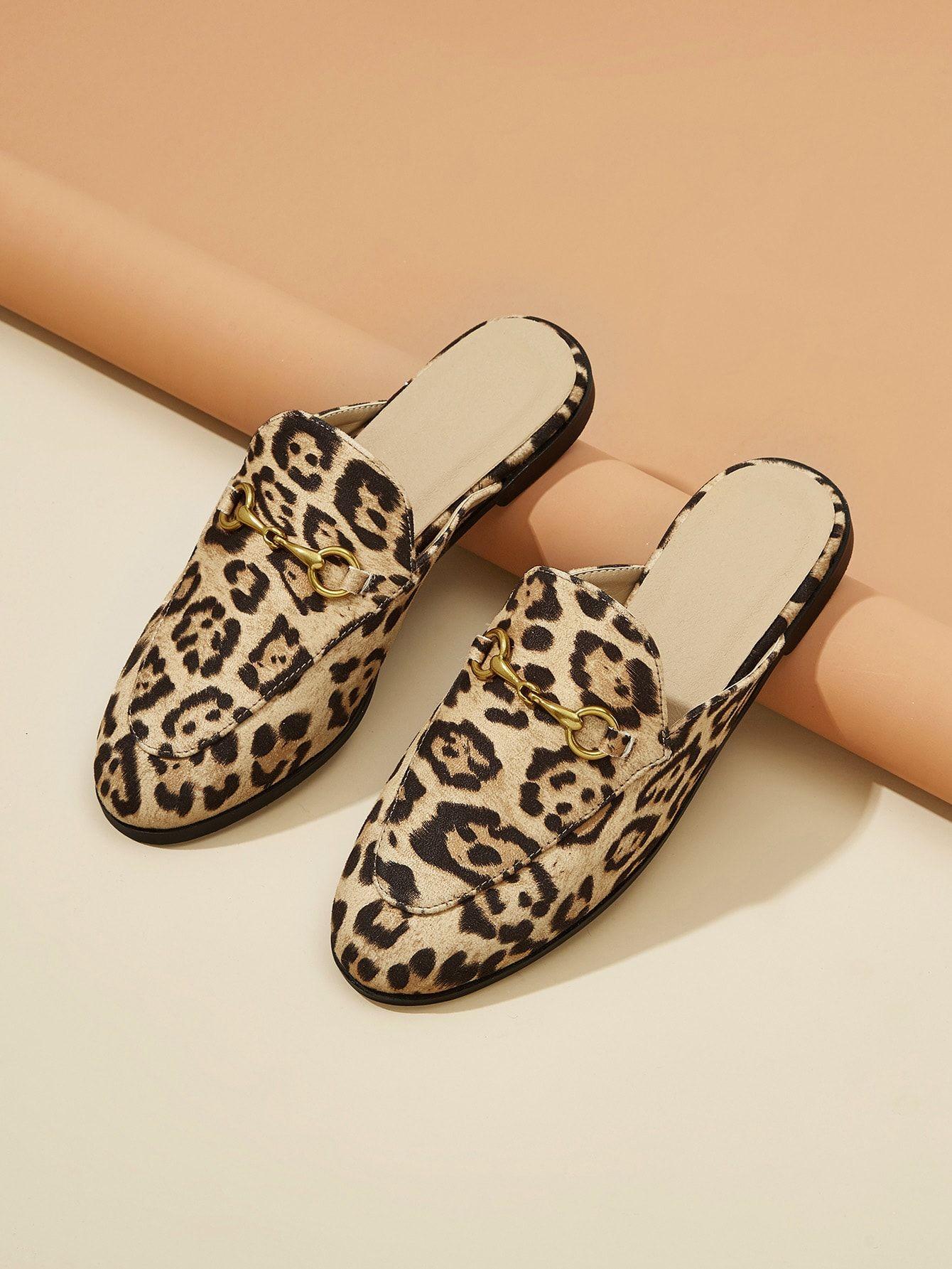 Leopard Pattern Flat Mules