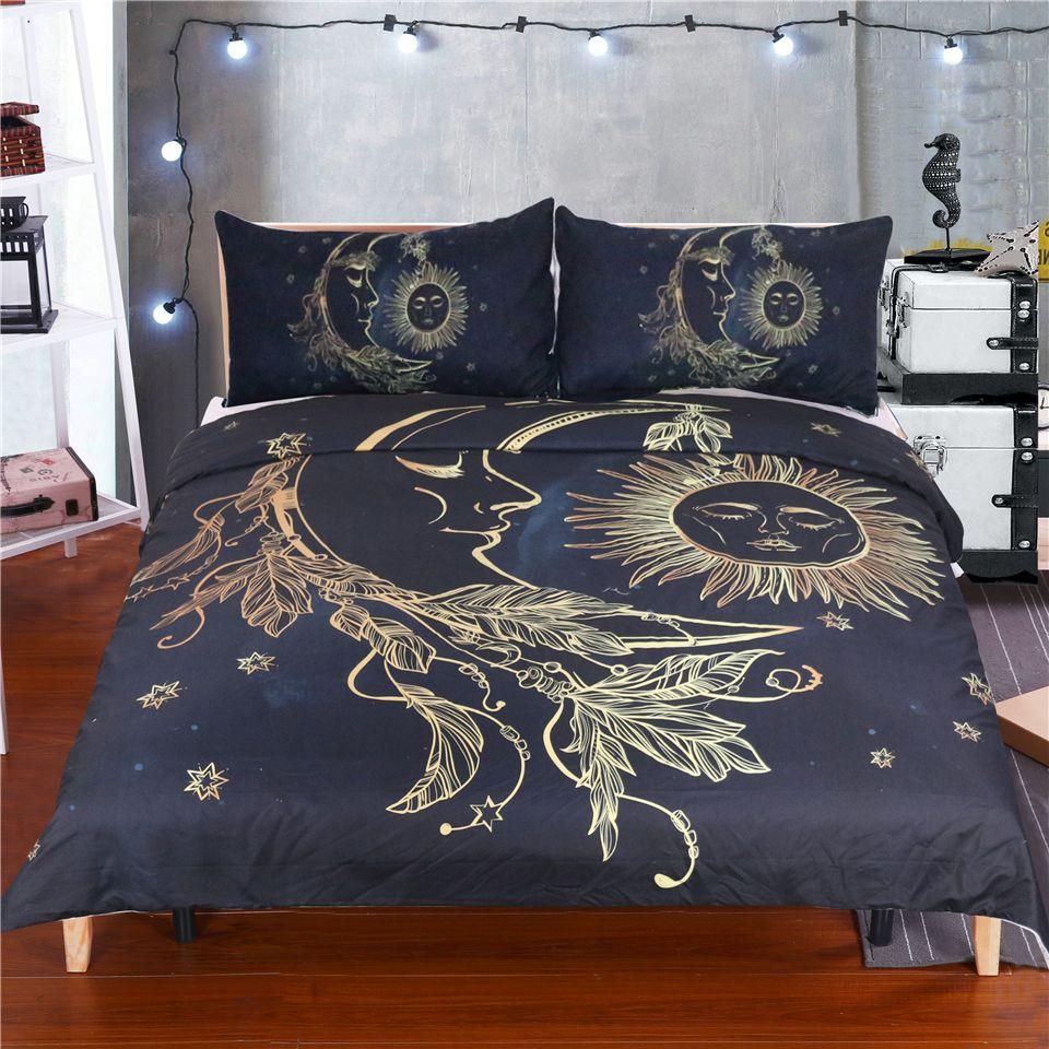 and art pin celestial cover sun fantasy moon stars nature golden set bedding comforter balance duvet pieces s