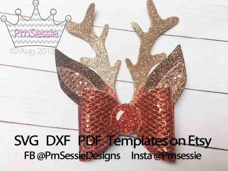 Digital Svg Dxf Pdf Reindeer Hair Bow Template Christmas Bow Etsy Bow Template Diy Hair Bows Christmas Bows