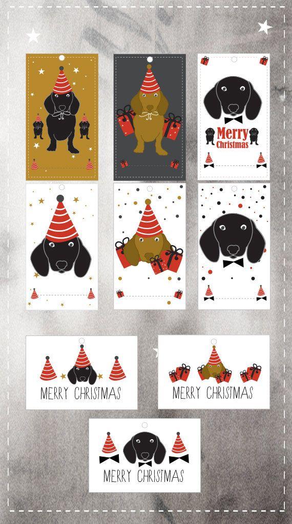Christmas Gift Tags printable daschund gift tags by nicemiceforyou