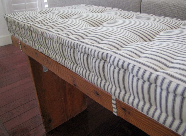 Custom Bench Cushion Black Ticking Stripe Window Seat French Mattress Quilted