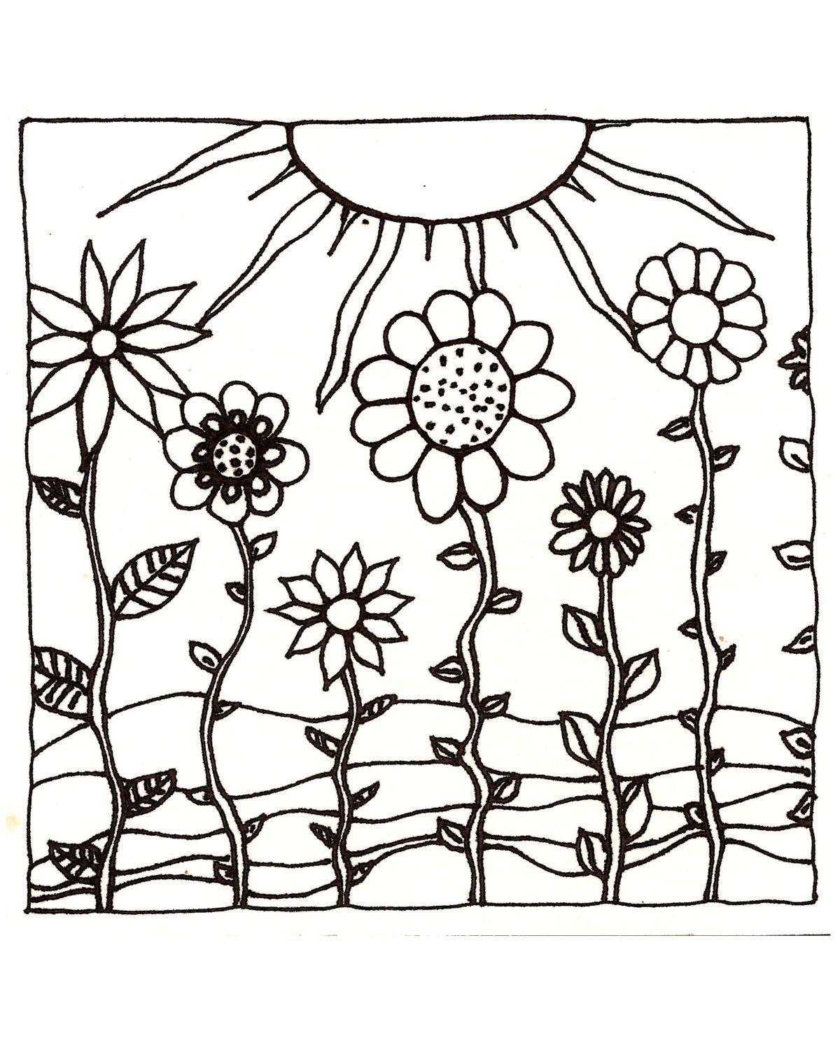 Download Printableadult Coloring Page Digital Hand Drawn Papers By Me Printables Sun Sunset
