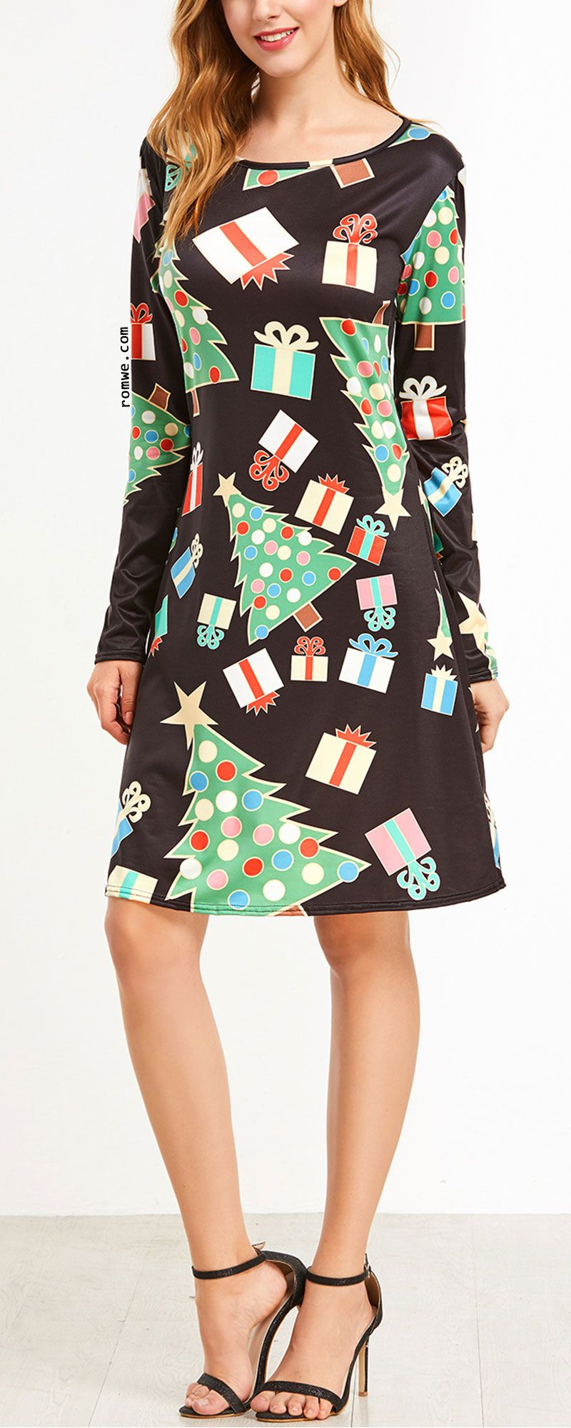 Christmas print long sleeve aline dress clothes pinterest
