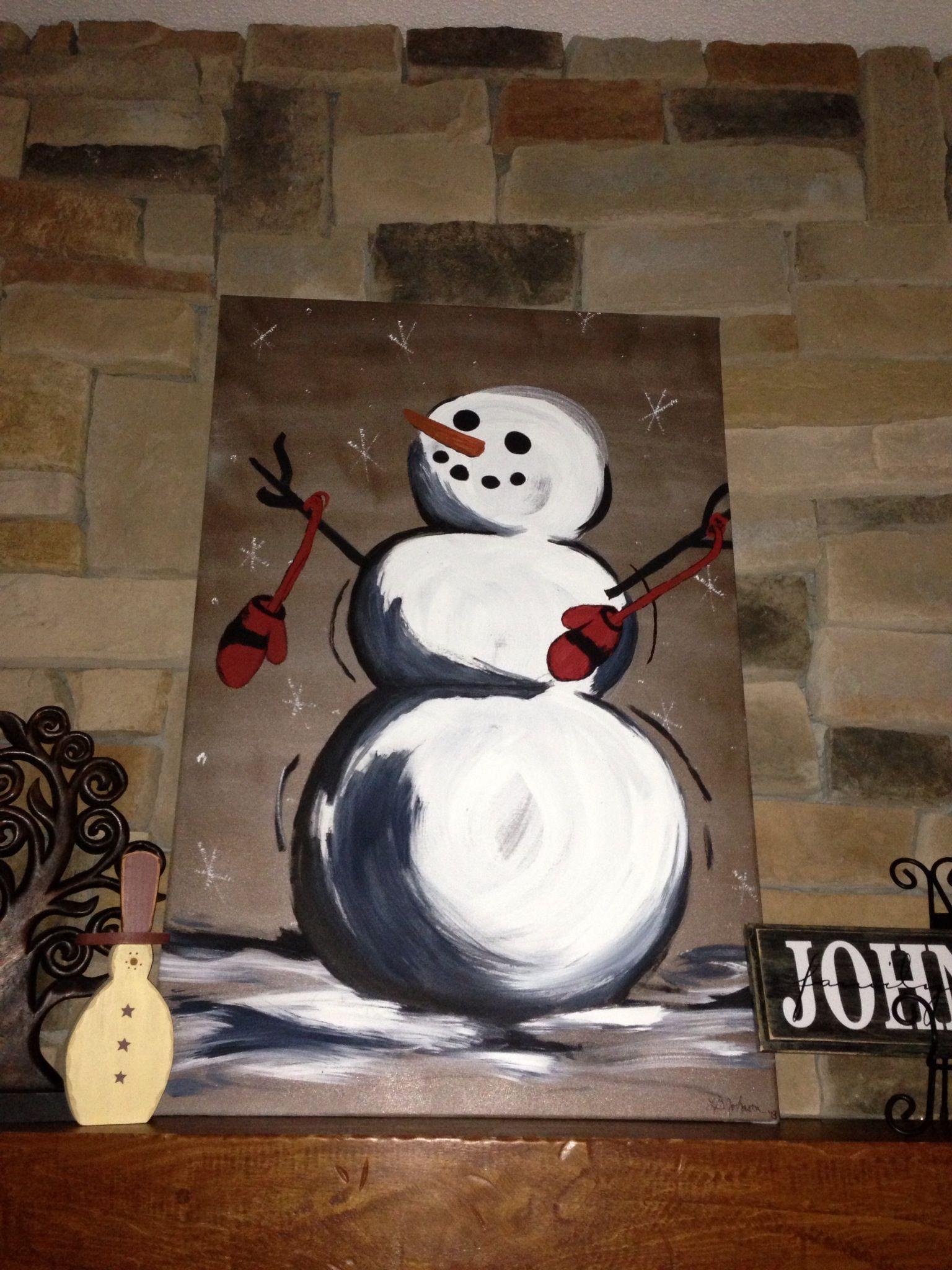 Linda Johnson Painted Snowman Snow