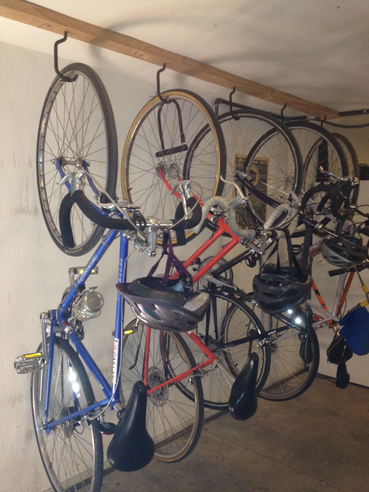 Hanging Bike Racks A Hearty Project But So Worthwhile We Rarely Have Fewer Than 10 Bikes In Our House Hanging Bike Rack Bike Storage Bike Shed
