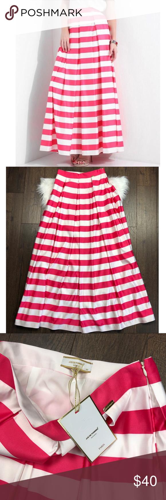 Pink White Stripe Maxi Skirt Striped Maxi Skirts White Stripe Maxi Skirt