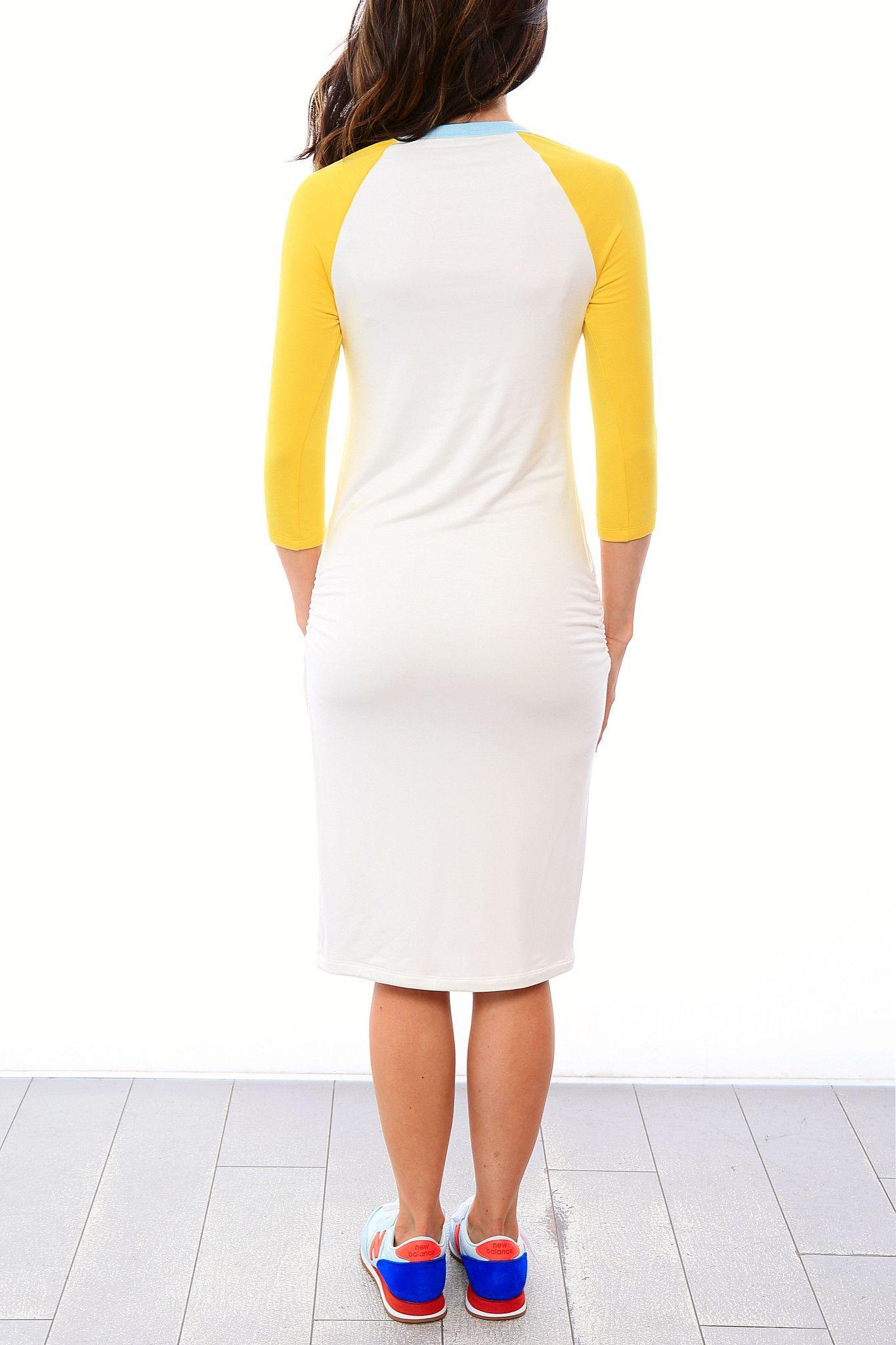 f7c6226b5d473 Raglan Sleeve Nursing Dress - White/Lemon/Blue Spa | Harper & Bay ...
