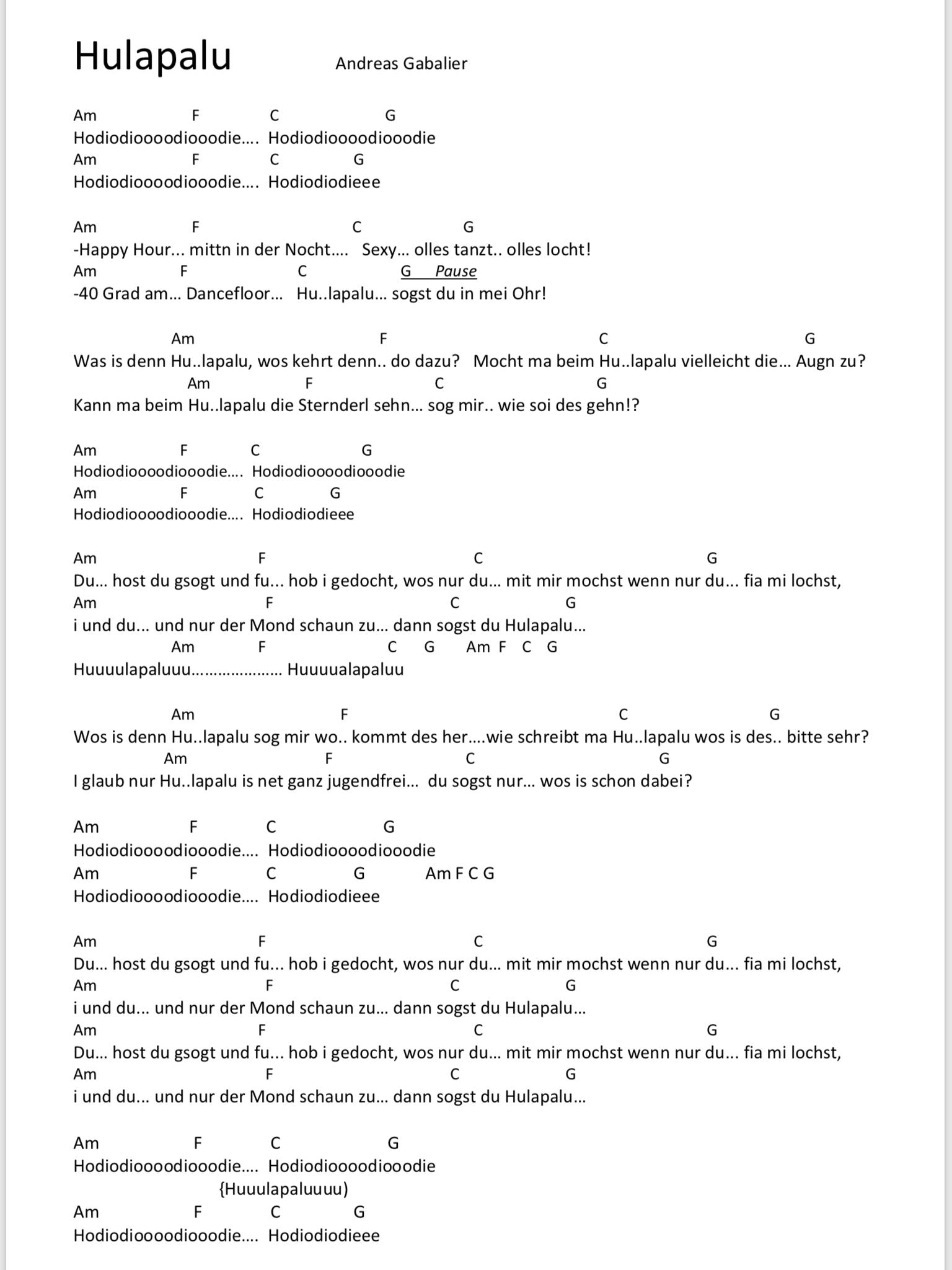 Hulapalu Songtext Und Akkorde Gitarrenlieder Gitarre Lieder Gitarren Songs