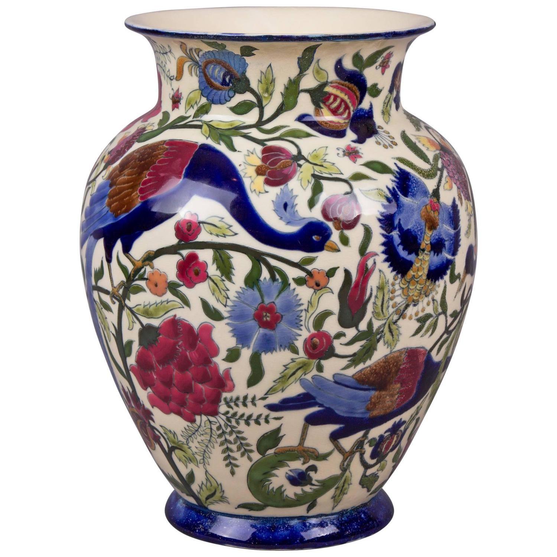 Zsolnay Hungarian Large Peacock Pattern Vase 1878 1stdibs Com Elegant Vases Vases For Sale Antique Vase