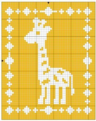 Filet Giraffe Blanket Crochet Pattern #filetcrochet