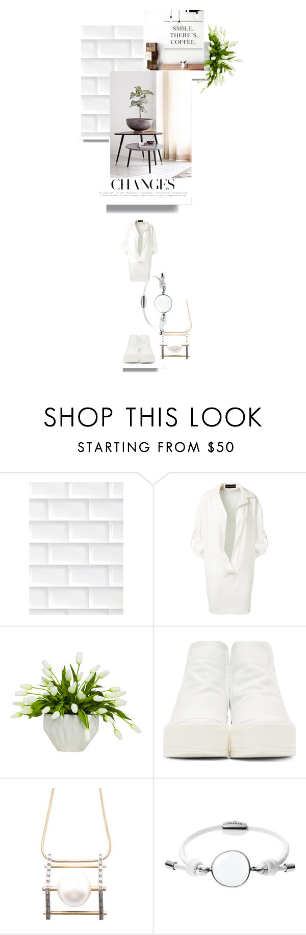 """Departure"" by timelessstyle ❤ liked on Polyvore featuring Alexandre Vauthier, Lux-Art Silks, CA by Cinzia Araia, Lanvin and Skagen"