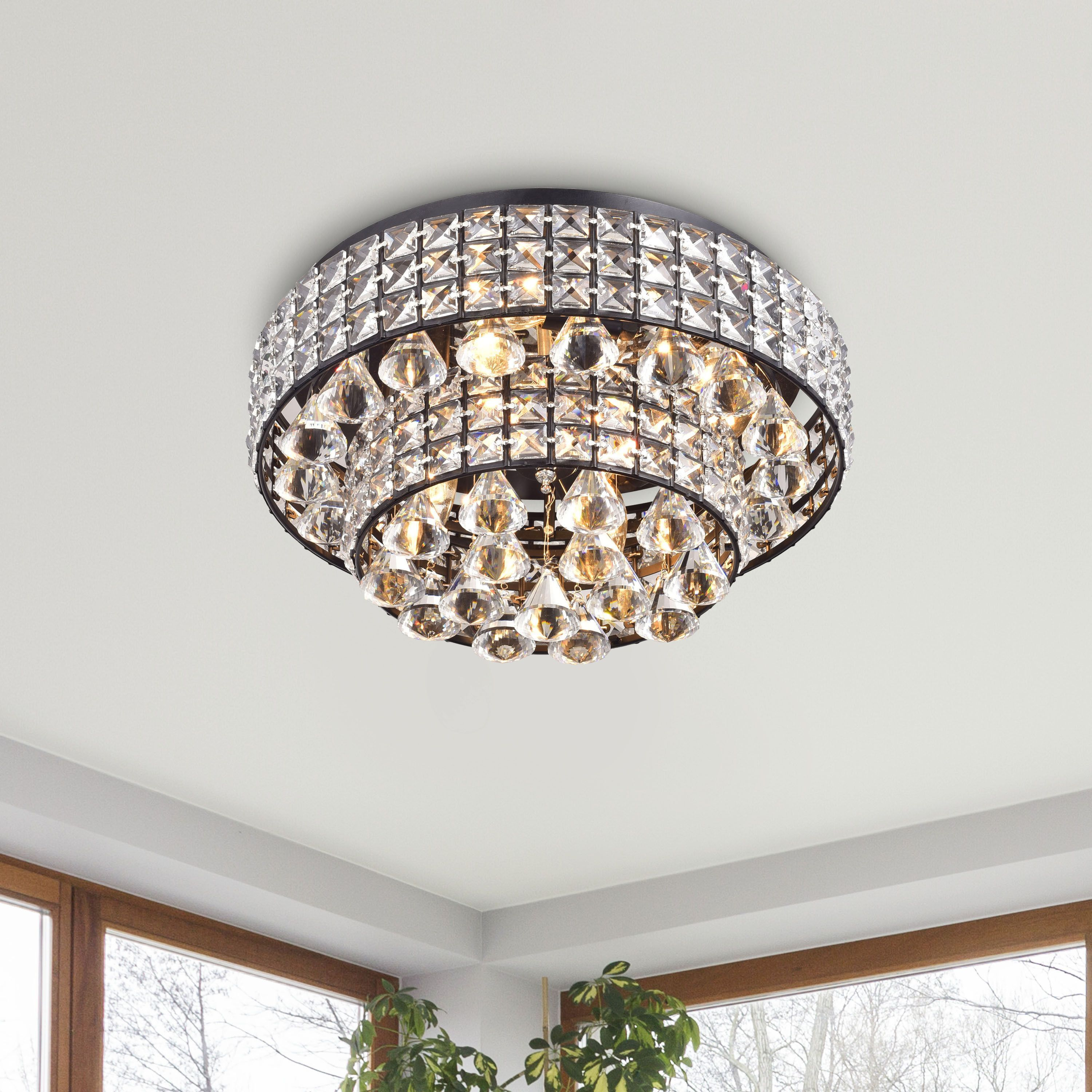Light up your home with this jolie antique black two tier crystal light up your home with this jolie antique black two tier crystal shades flush mount chandelier arubaitofo Image collections