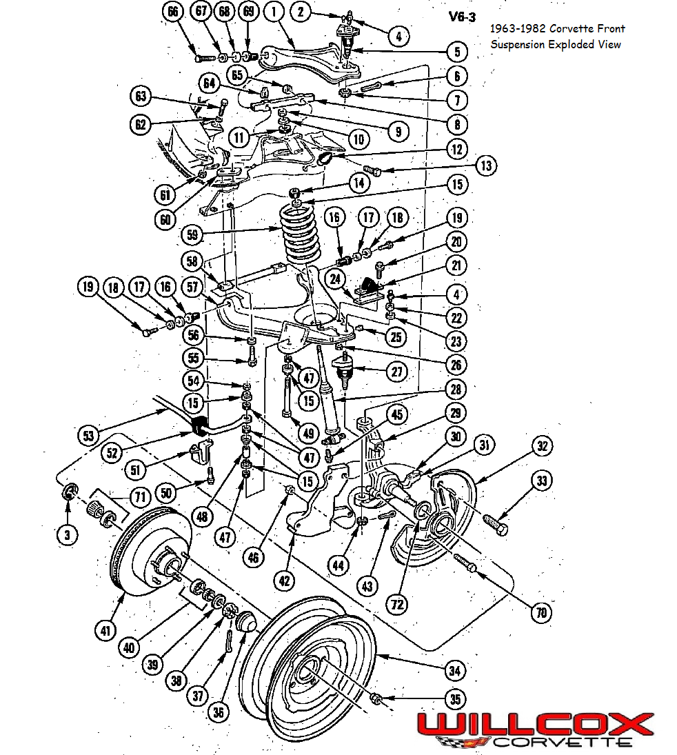 1963 1982 Corvette Front Suspension Exploded View Corvette Corvette Stingray 1976 Corvette