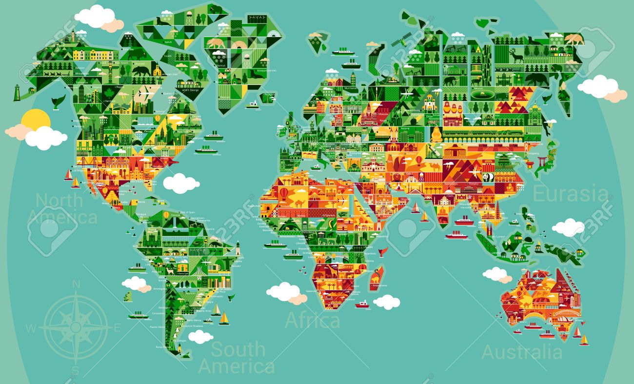 Cartoon world map with landscape and animal vector illustration cartoon world map with landscape and animal vector illustration royalty free cliparts vectors gumiabroncs Images