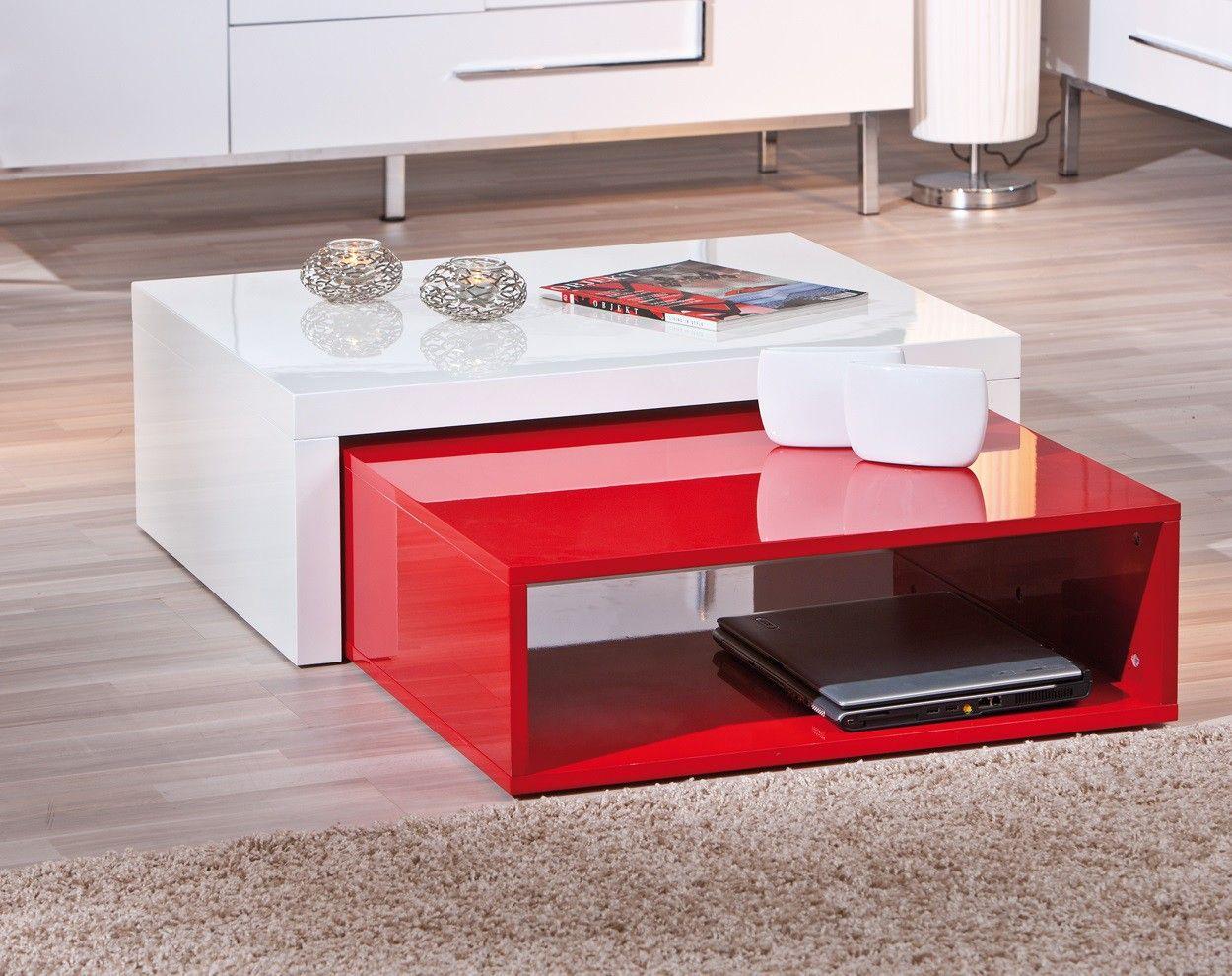 Table Basse Desgin En Bois Coloris Blanc Rouge Nolane Table Basse Blanche Table Basse Table Basse Laquee