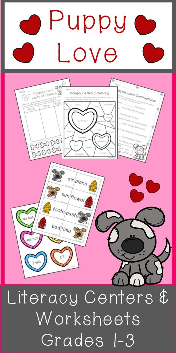 Puppy Love Literacy Packet Includes Compound Words Contractions Abc Order