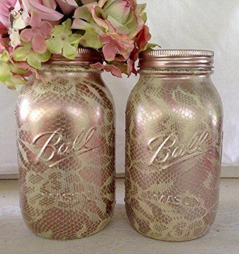 Set Of 2 Ivory And Rose Gold Lace Pattern Tall Mason Jars