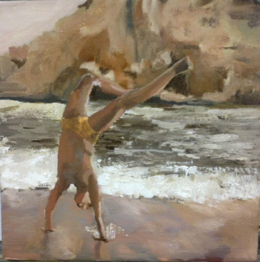 Niño en la playa. Playa de Murcia en 4 calas, donde los niños estaban jugando.