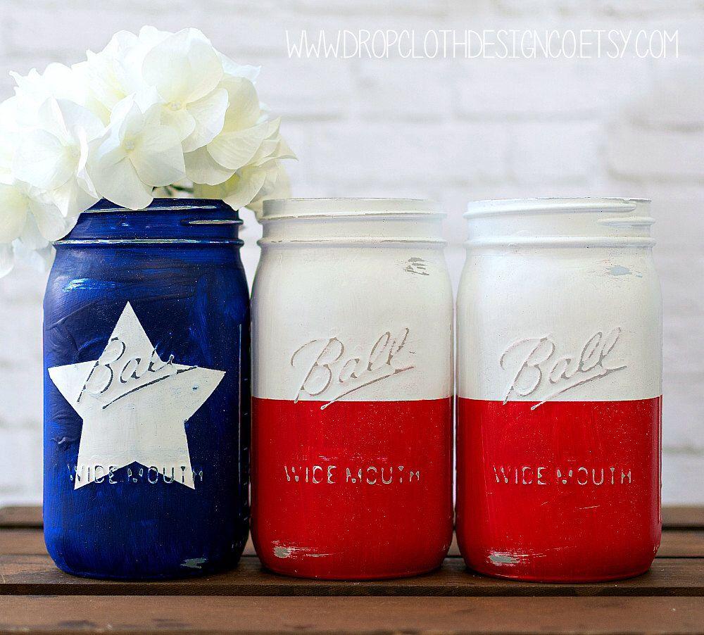 Texas Flag Mason Jar Set - Red, White, Blue Texas Flag Quart Size ...