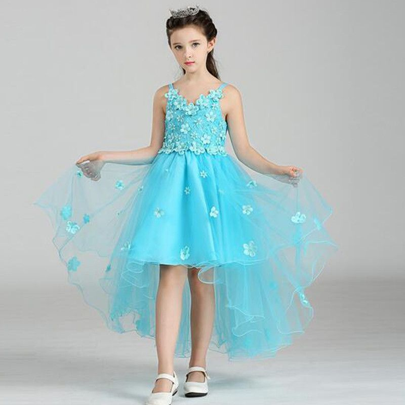 elsa blue high low royal kids party dress  girls evening