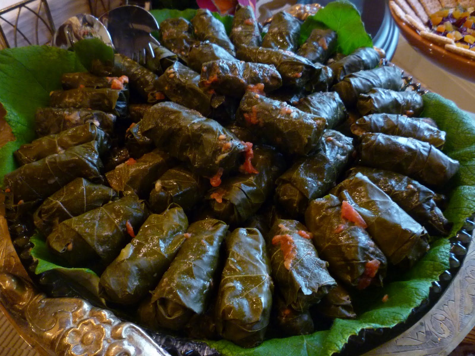 The Chef In My Head Stuffed Grape Leaves Tzatziki Tabouli Stuffed Grape Leaves Grape Leaves Recipe Syrian Food