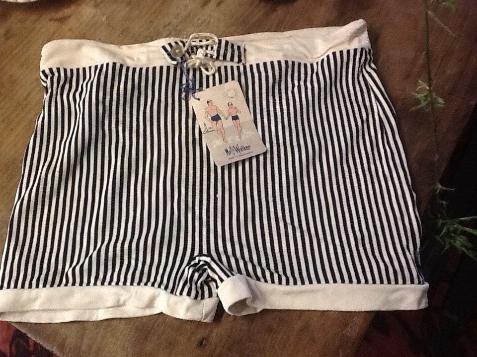 7ee0dce64e Vintage Black and White Stripe 60's Men's Swim Trunks by 3birdz on Etsy