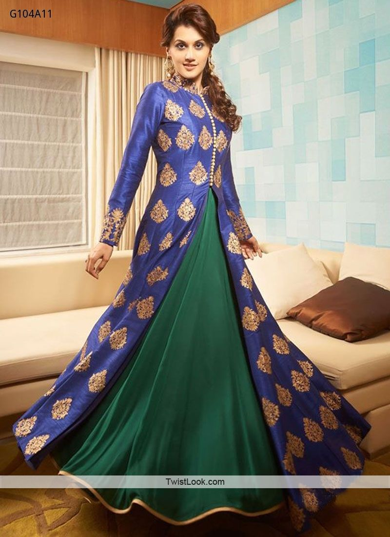 Z Fashion Trend  ELEGANT BLUE AND GREEN INDO WESTERN GOWN ... 70ac093da