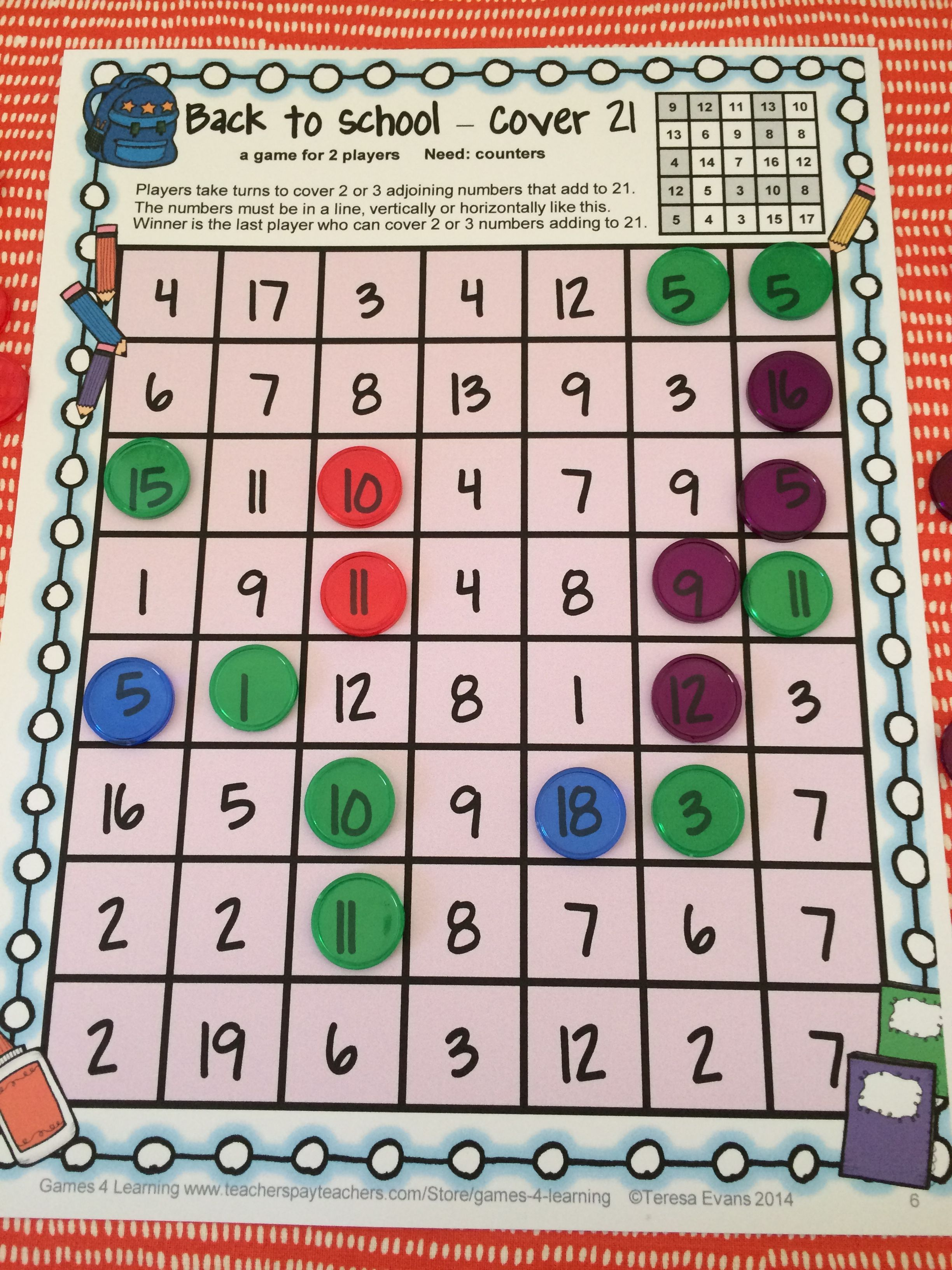 Back To School Math Games Third Grade Back To School
