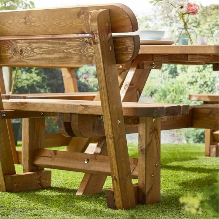 Phenomenal Details About Wooden Picnic Table Bench With Backrest Inzonedesignstudio Interior Chair Design Inzonedesignstudiocom