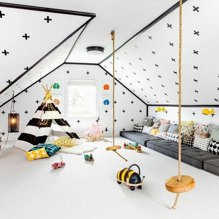 aménagement chambre montessori, matelas gris, tipi enfant en noir et ...