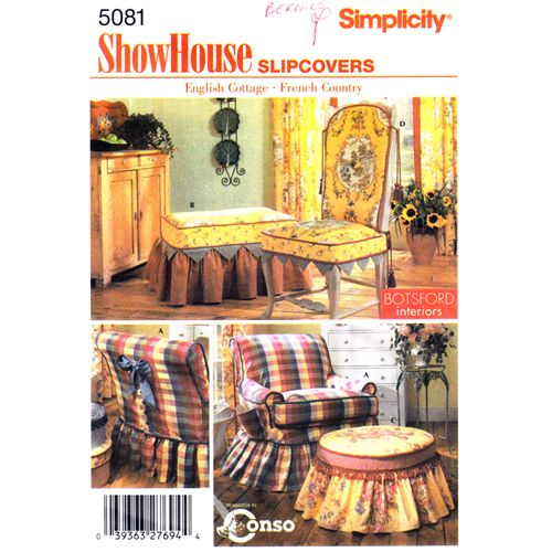 Simplicity 5081 Chair Slipcover Pattern Dining Chair Ottoman English ...