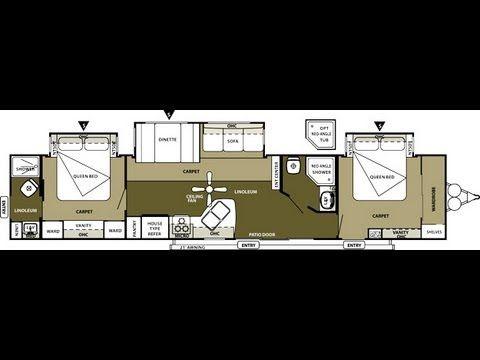 2013 Wildwood Dlx 4002q 2 Bedroom 2 Bathroom 43 Travel Trailer Travel Trailer Floor Plans Travel Trailer Travel Trailers For Sale