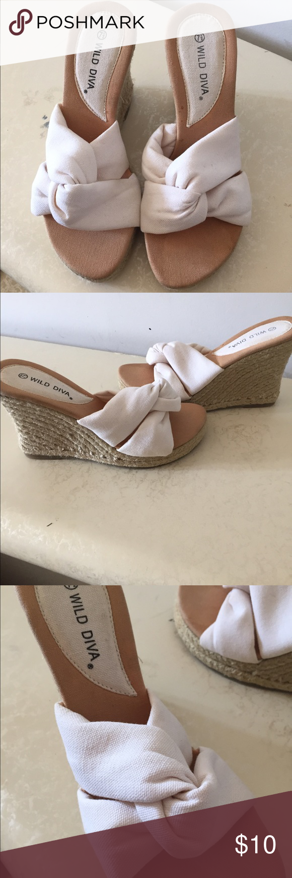 Woman's White and Tan Wedge Shoes These are a pair of Woman's White and tan Wedge open toe sandals. Only wore once . In excellent condition no stains or appearing marks. Size 71/2 Shoes Wedges