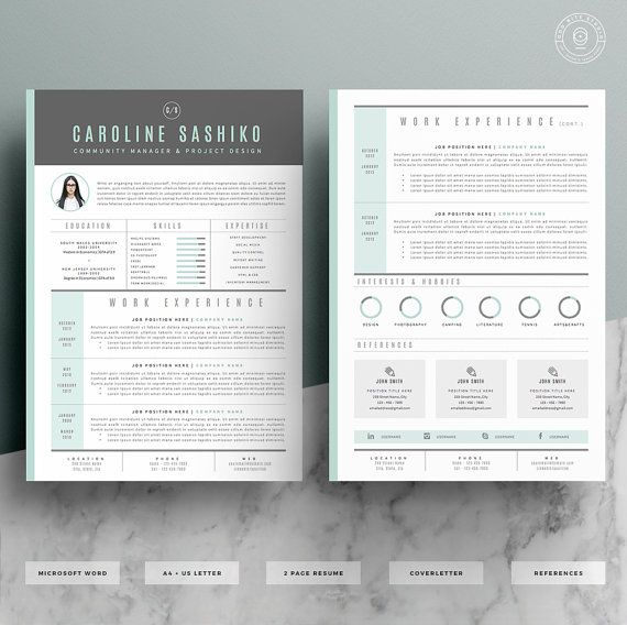 Graphic Design Resume Template Resume Template  Cv Template  Cover Letter For Word  4 Page