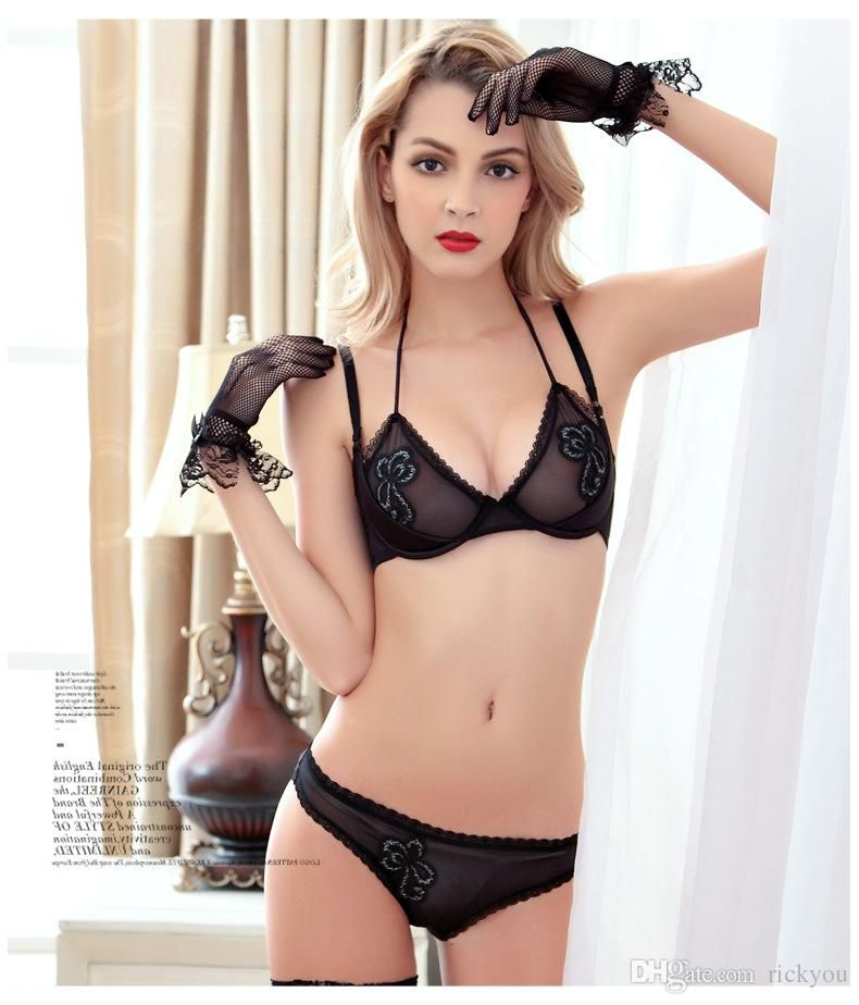 e4cd46c24dc15 Ultra-thin transparent lace sexy bra set young girl small push up thin  temptation underwear bra set