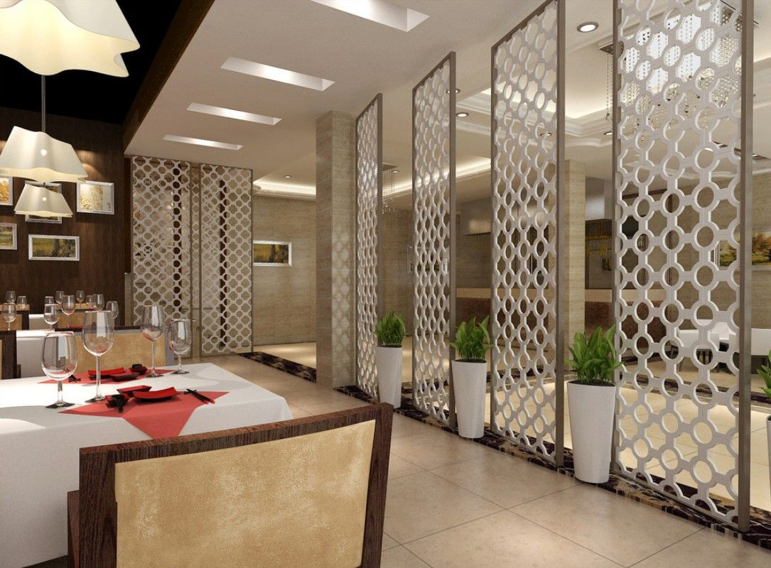 Restaurant Interior Design wine cooler chandelier red brick wall ...